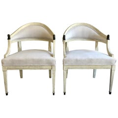 Pair of Swedish Barrel Back Chairs, Sweden, circa 1890