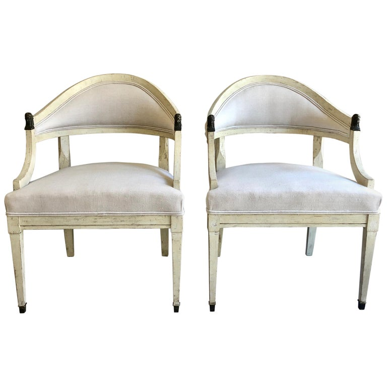 Pair of Swedish Barrel Back Chairs, Sweden, circa 1890 For Sale