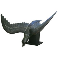 Large Copper Eagle Sculpture on Stand Pre Flight