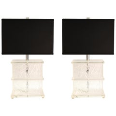 Mid-Century Modern Lucite Crackle Table Lamps with Black Shades