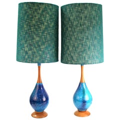 Mid-Century Modern Blue Ceramic and Teak Table Lamps with Fabric Shades
