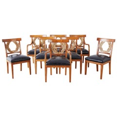 Set of Eight Neoclassical Laurel Wreath Dining Chairs