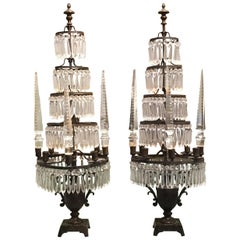 Early 20th Century Pair of Italian Iron and Crystal Candelabra Girandoles