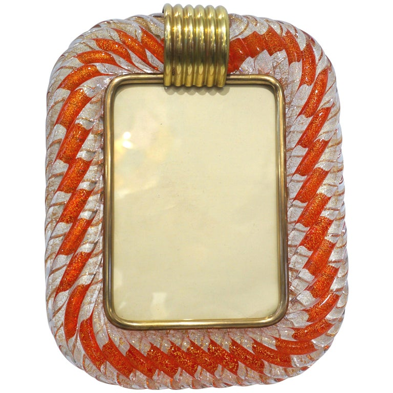 Barovier Toso 1970s Vintage Red Orange and Gold Murano Glass Photo Frame
