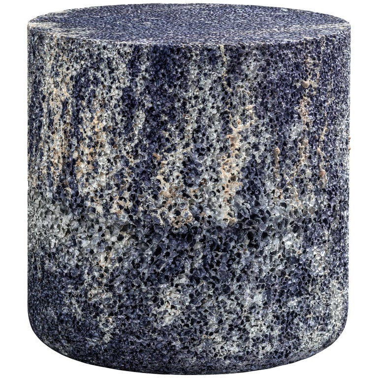 Metal Rock Blue Round Side Table or Stool Aluminum Foam by Michael Young For Sale
