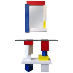 De Stijl Mondrian Style Console Table and Mirror, Signed, 1994