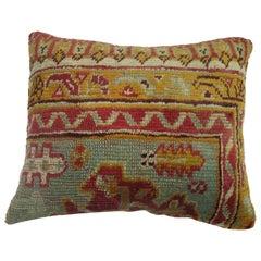 Antique Oushak Border Rug Pillow
