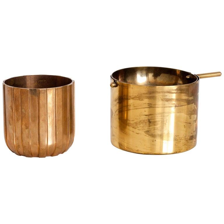 "Cylinda-Line Brass Ashtray by Arne Jacobsen X Stelton with Brass ""Vendor"" Vase For Sale"