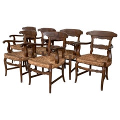 19th Century Set of Six Armchairs with Straw Seat