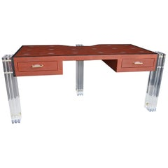 Red Shagreen and Lucite Desk
