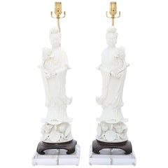 Monumental Pair of Blanc de Chine Kwan Yin Figural Lamps on Lucite Bases