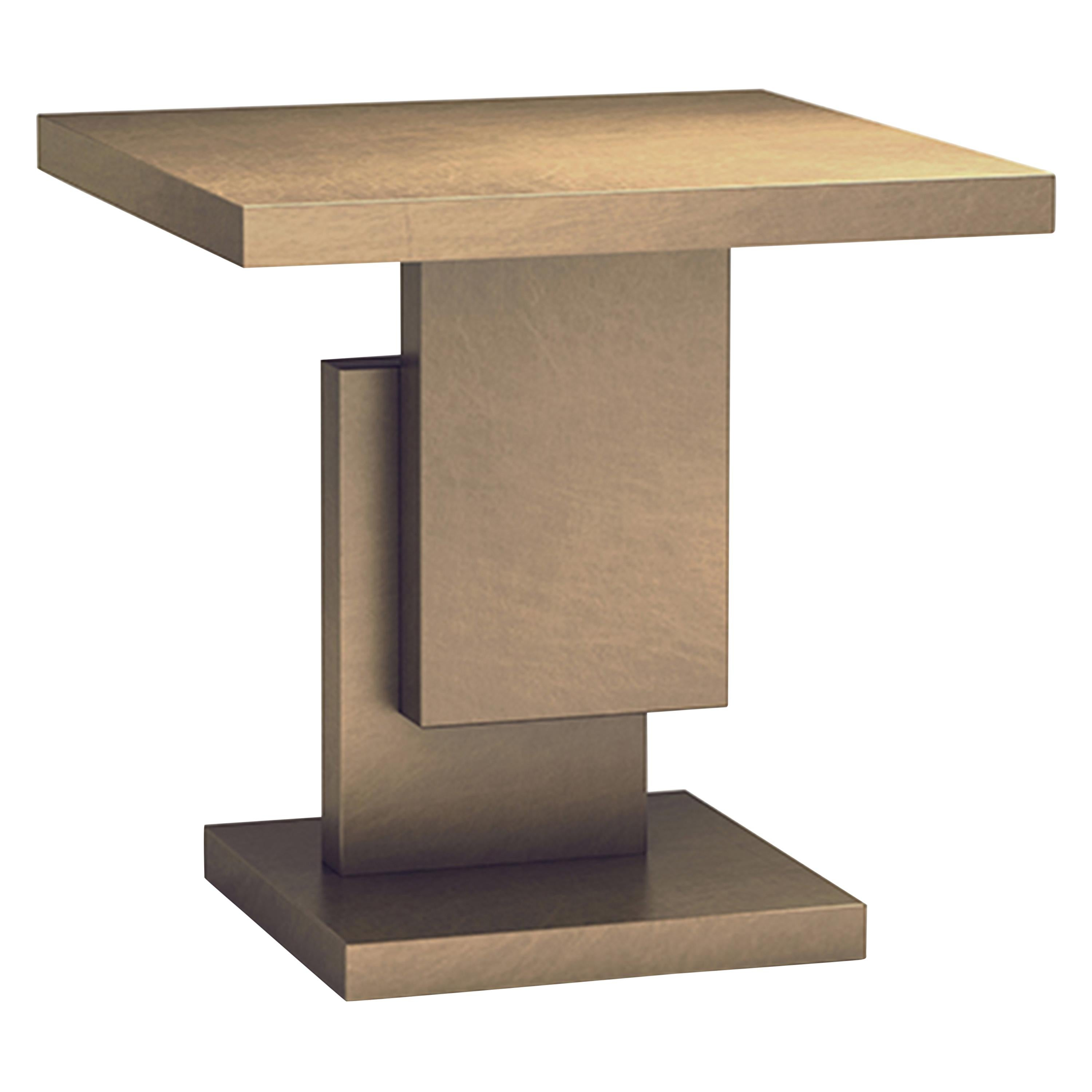 Gold/Copper Square Top Stack Side Table Geometric Customizable