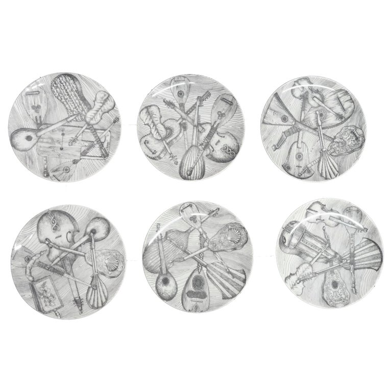 "Piero Fornasetti ""Instrumenti Musicali"" Plates Set of Six Signed For Sale"