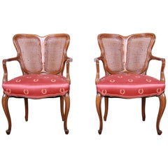 Vintage French Provincial Louis XV Style Armchairs, Pair
