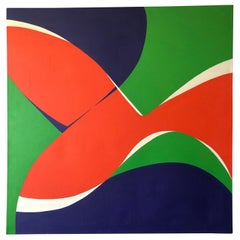 "Monumental Modern Acrylic on Canvas, ""Vibrations"", Betty Usdan-Zwickler, 1982"