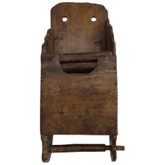 19th Century Antique Fruitwood Salt Box or Scoop Wall Hanging