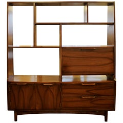 Mid-Century Modern Walnut Bookshelf Room Divider W Drop Down Desk, 1950s