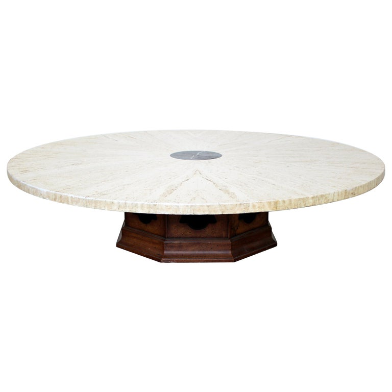 728bafdcdec1 Mid-Century Modern Harvey Probber Massive Round Marble Walnut Coffee Table  1950s For Sale
