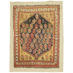 Antique Qashqai Rug Stitched on Linen
