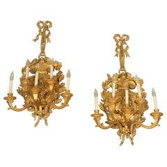 Large and Fine Pair of Late 19th Century Gilt Bronze 5-Light Sconces