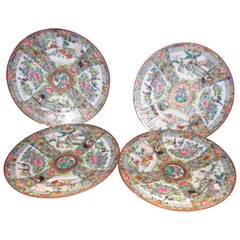 19th Century Rose Medallion Chinese Export Plate Set of Four