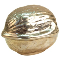 Modern Metal Walnut Shaped Trinket Box