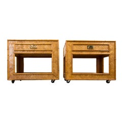 Pair of Woven Rattan Cabinets with Single Drawer, Bottom Shelf on Casters
