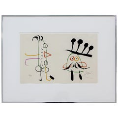 Mid-Century Modern Framed Lithograph Signed by Miro L'enfance D'ubu 1975 18/120