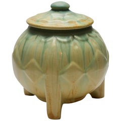 Art Deco Lidded Pot on Three Rectangular Feet with Drip Glazes