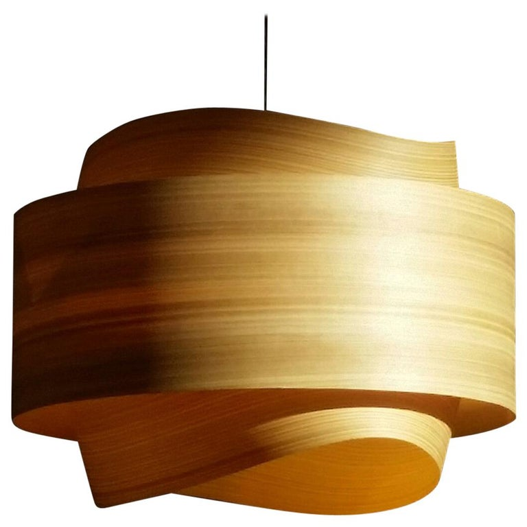 BOWEN Custom Cypress Wood Drum Chandelier Pendant For Sale