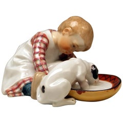 Meissen Art Nouveau Hentschel Child Little Boy with Dog Model W 123