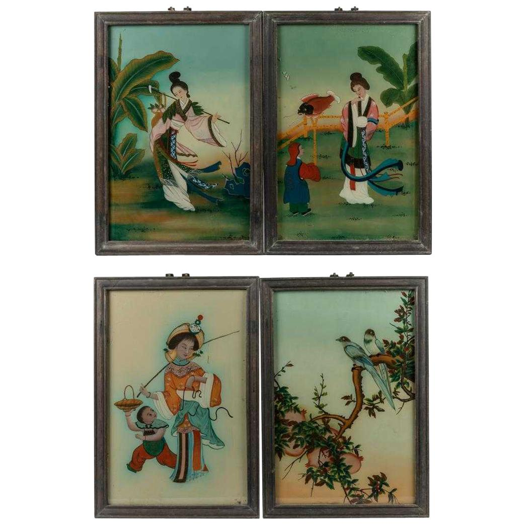 Set of Four Japanese Reverse Paintings