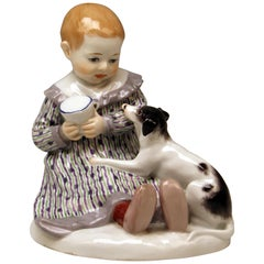 Meissen Art Nouveau Baby Child with Dog by Paul Rumrich Model A 234