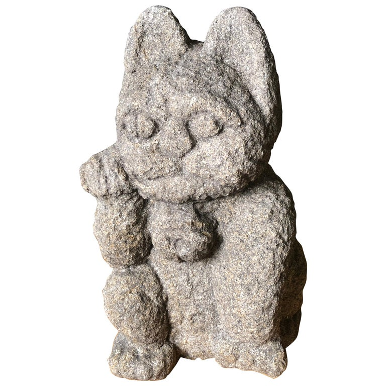 Japanese Antique Stone 19th Century Fortune Money Cat For Sale