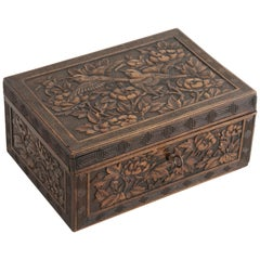 Late 19th Century French Hand Carved Black Forest Box with Birds