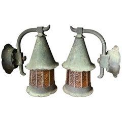 Japanese Extraordinary Pair of Antique Bronze Light Fixtures Sconces, 1920s