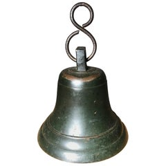 Japanese Fine Bronze Ships Bell With Fine Patina, Bold Sound & Signed
