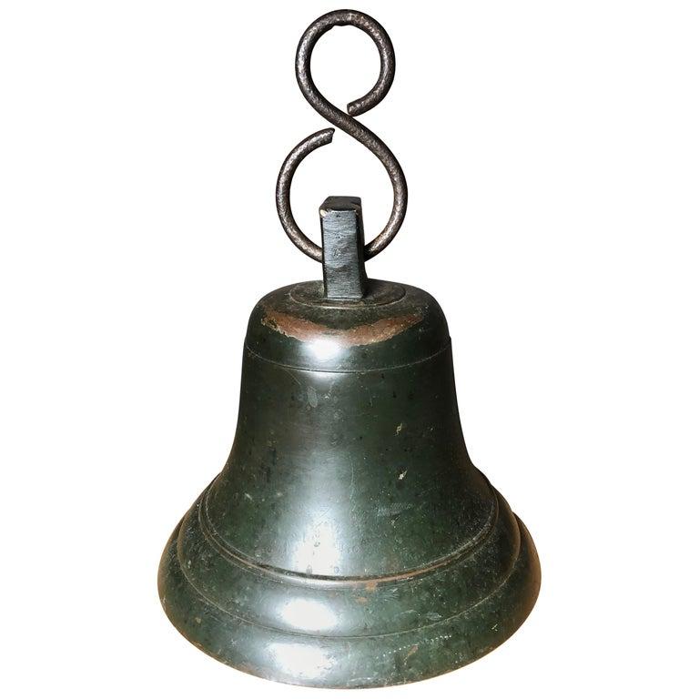 Japanese Fine Bronze Ships Bell 1924, Fine Patina, Bold Sound & Signed For Sale