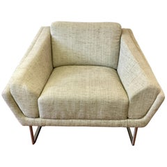 HBF Barbara Barry Hickory Architectural Curved Lounge Chair Armchair
