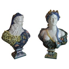 19th Century Pair Faience of Rouen Summer and Winter, Garniture Bust Sculpture