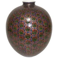 Japanese Red Green Gilded Porcelain Vase by Imari Master Artist, circa 2005