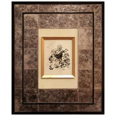 Art Frame Laminated in Mica with parchment center panel.