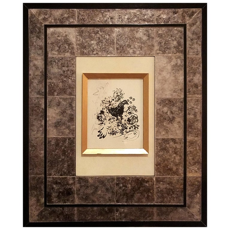 Art Frame Laminated in Mica with parchment center panel. For Sale