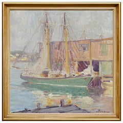 """Emile Albert Gruppe """"In Port"""" Exceptional Early Painting"""