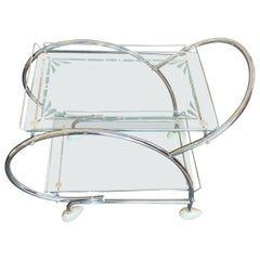 Art Deco Australian Chrome and Etched Glass Bar Cart Auto Trolley