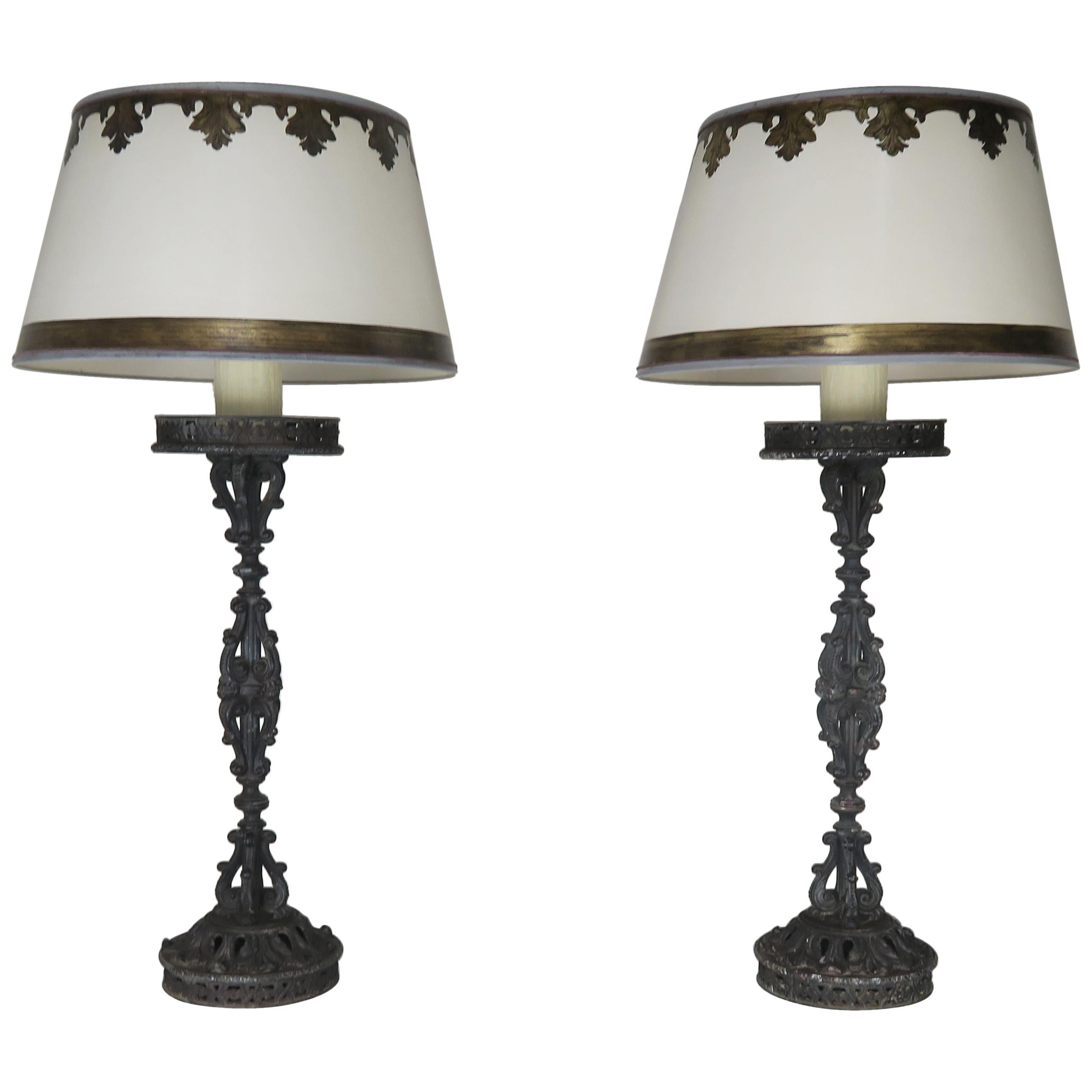 Cast Iron Spanish Candlestick Lamps with Custom Parchment Shades, Pair