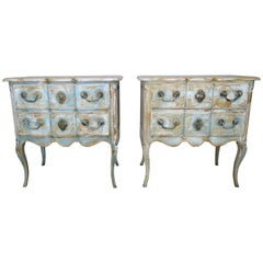 French Painted Louis XV Style Commodes, circa 1930s