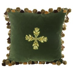 19th Century Appliqued Green Velvet Pillows by Melissa Levinson