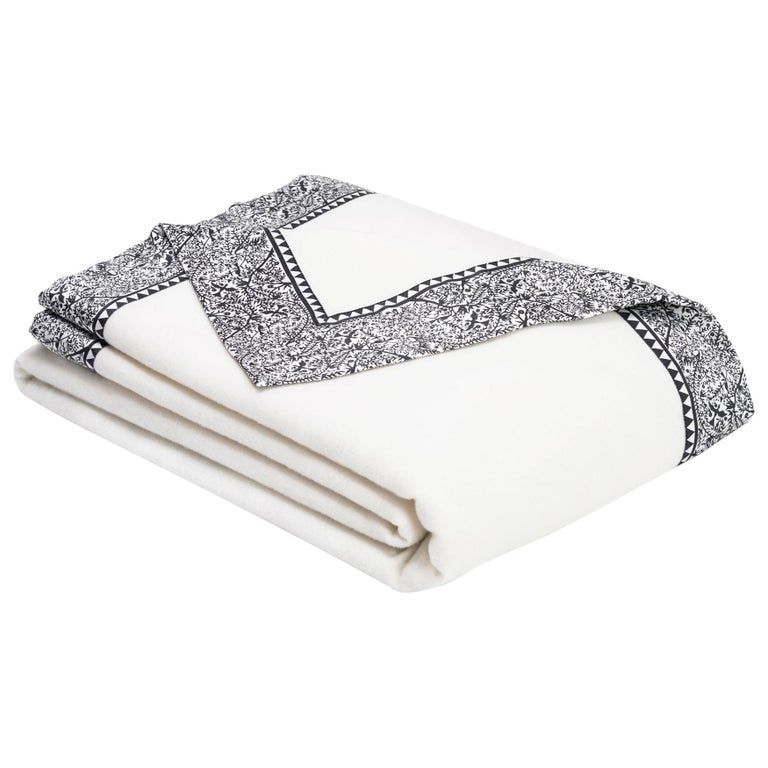 Emilie Merino White King-Size Blanket with Grey Print Border by JG SWITZER For Sale