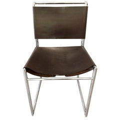 Marcel Breuer Mid Century B40 Brown Leather with Corset Dining Chairs Set of 10